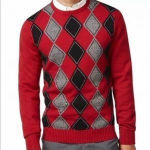 NWT Geoffrey Beene Burgundy Argyle Sweater Sz L